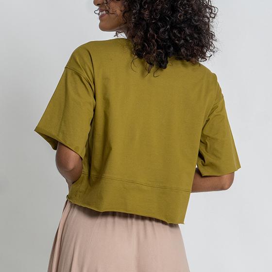 Tea-shirt ampla Verde Oliva